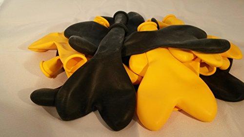 Sachsen Versand 100 gelb-schwarz-Herz-Luftballon-s-Ballon-Herzen-herzförmig-LatexGeburtstag-Idee-Geschenk-Helium geeignet-EU Ware