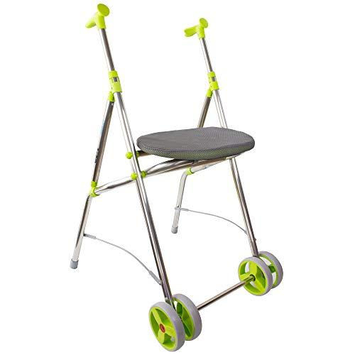 Andador ortopédico para adultos de aluminio ligero y plegable, con asiento y ruedas delanteras dobles, pistacho