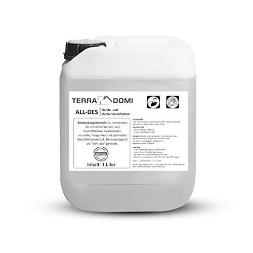 TerraDomi All-Des Breeze 1 Liter parfümiertes Desinfektionsmittel gegen 99,9 aller Viren, Bakterien, Pilze oder Sporen, für Hände und Flächendesinfektion, Made in Germany
