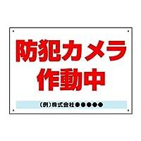 〔屋外用 看板〕 防犯カメラ 作動中 ゴシック 穴あり 名入れ無料 (600×450mmサイズ)