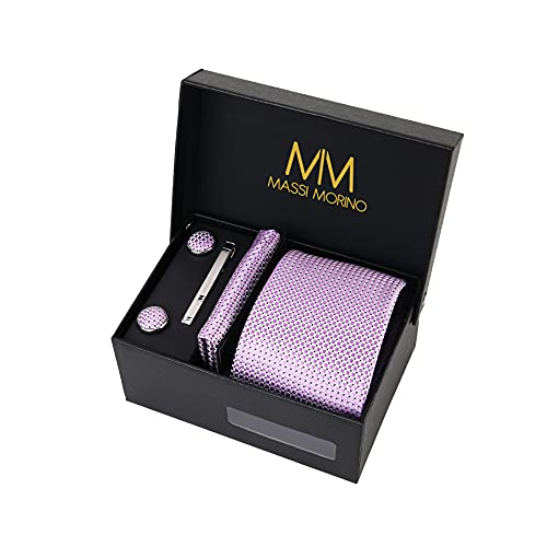 Massi Morino ® Cravatta uomo + Gemelli + Fazzoletto (Set cravatta uomo) regalo uomo con confezione regalo (Porpora)