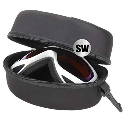 ShyaWorld Funda de Gafas de Buceo Esqui Ski Snow Rígida. Estuche Grande Lígero. para Gafas de Sol si Son de Gran Tamaño. No es Impermeable. Gran Capacidad y Material Duro y Resistente. (Negro 1PCS)