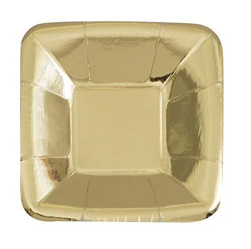 Unique Party 51684 - 12cm Foil Gold Square Paper Appetiser Plates, Pack of 8