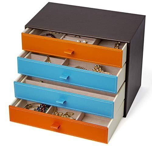"""Kendal Large Jewelry Box Leather Jewelry Organizer Display Storage Case (11.00"""" L x 6.69"""" W x 8.86"""" H)"""