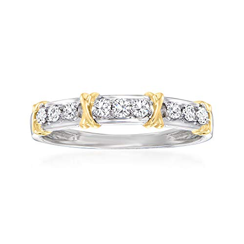 Ross-Simons 0.25 ct. t.w. Diamond and'X' Station Ring in 14kt 2-Tone Gold. Size 8