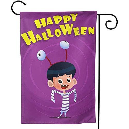 CHANGSHABF Yard Flags, Tuinvlag 70X102Cm Halloween Poster Met Kid dragen Kostuum Op maat Tweezijdig Voor Thuis Tuindecoratie