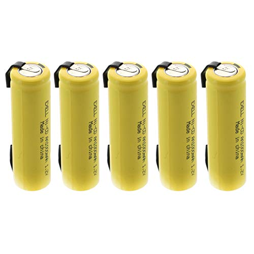 (5-PACK) Exell AA 1.2V 1000mAh NiCD Rechargeable Batteries with Tabs for high power static applications (Telecoms, UPS and Smart grid), electric mopeds, meters, radios, RC devices, electric tools