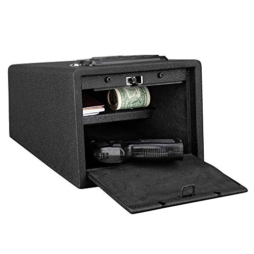 Bonnlo Quick Access Pistol Safe Handgun Safe Duel Firearm Safety Device Compact Gun Safe with Auto-open Lid and Alarm-U Security Alarm