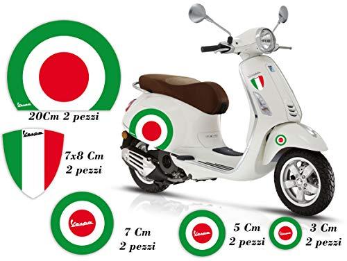 GamesMonkey Adhésifs Stickers Vespa Set Piaggio Vespa Drapeaux Italie Roue