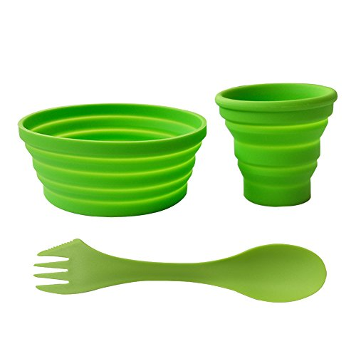 Ecoart Silicone Collapsible Bowl Cup Set with Spork for Outdoor Camping Hiking Travel, Green - Set of 3