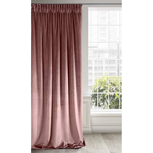Eurofirany - Cortina de Terciopelo Rosa Oscuro, 1 Unidad, Suave Fruncido, Elegante,, Dormitorio, salón, Tela, Color Rosa Oscuro, 140 x 270 cm