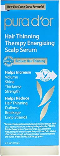 PURA D'OR Terapia de adelgazamiento del cabello revitalizante suero del cuero cabelludo, infundido con aceite de argán orgánico, biotina e ingredientes naturales, 4 onzas líquidas