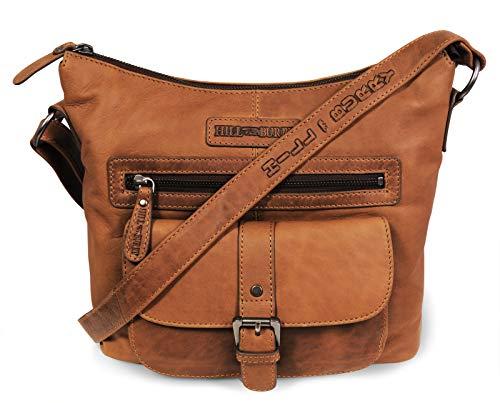 Hill Burry Damen Handtasche   aus weichem hochwertigem Rindsleder - Vintage Elegante Fashion Bag Beutel   Umhängetaschen Schulterbeutel - Abendtasche   Shopper - Schultertasche (Braun)