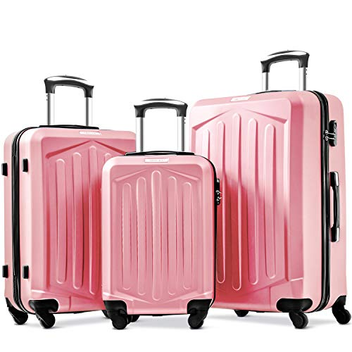 Merax Set of 3 Luggage Lightweight ABS Hard Shell Travel Trolley 4 Spinner Wheels Suitcase Set Free 3-Year Warranty (20/24/28,Rose Golden)