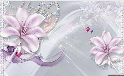 Papel De Pared 3D Papel De Pared Flores Rosadas Hermosas Joyas Fondo De Seda Papel Pintado Pared Tela No Tejida Fotomurales Salón Dormitorio 380x256cm