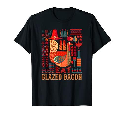 Pavo Comer Bacon Esmaltado Acción de Gracias Bacon Lover Camiseta