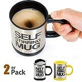 SOPRETY 2er Set Automatischer Rührbecher Selbstrührende Kaffeetasse Becher mit Trinkloch im Deckel...