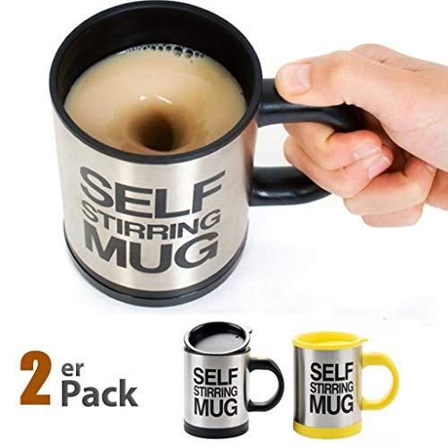 SOPRETY 2 PCS Automatischer Rührbecher Selbstrührende Kaffeetasse Becher mit Trinkloch im Deckel 400 ml Für Kaffee Milch Saft Kakao, schwarz und Gelb