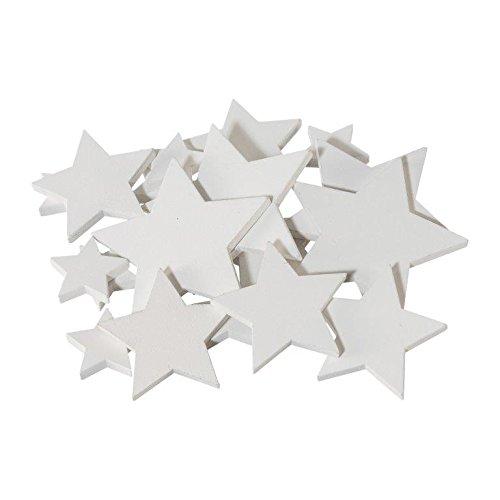creativ home Holz- DEKOSTREU Stern 20 Teile. Ca 7/5 / 3 cm. Ca 20 Holzsterne, Sterne. Weiß Weiss 6017801-40