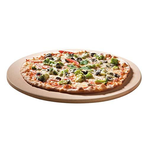 SANTOS Runder Premium Pizzastein - Ø 26 cm - bis 1.000 Grad - für Gasgrills, Backofen, Holzkohlegrills, Brotbackbackstein geeignet