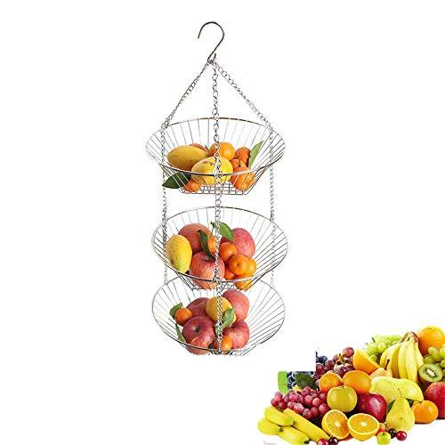 NBLYW 3 Tier Opknoping Fruit Basket, Keuken Zware Duty Draad Organizer met Gratis Metalen Draad Plafond Haak, Hangmat Stijl voor Opslag Fruit, Groente
