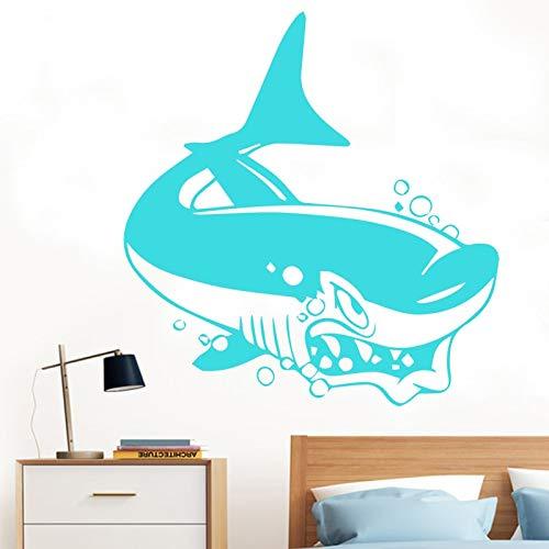 yaonuli Unterwasserwelt Wandaufkleber Fischhai Delphin Ozean Wandkunst Aufkleber Kindergarten Küche Bad Dekoration 54x54cm
