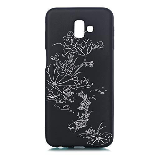 Slim Weich Bling TPU für Samsung J6 Plus 2018,Flexible Flower Cartoon Kreative Soft Crystal Transparent Clear Sparkle Glitter Ultra Dünn Licht Gel Gomma Silikon Schutz Handy Hülle Case