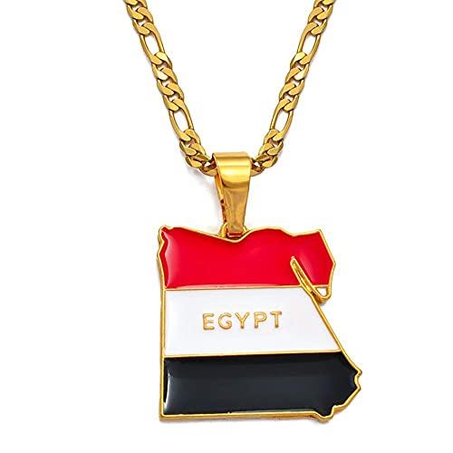 Collares Collar con colgante de mapa y bandera de Egipto del país para mujeres y hombres, joyería de Color dorado, regalos egipcios, cadena de 60 cm por 3 mm