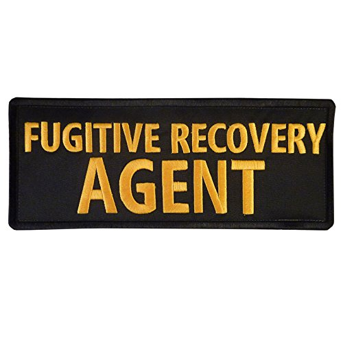 FUGITIVE RECOVERY AGENT Large XL 10x4 inch Vest Embroidered Nylon Touch Fastener Patch