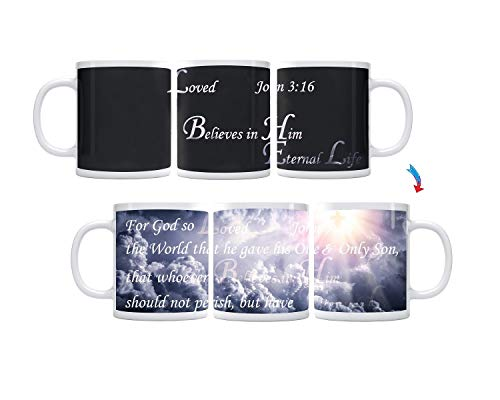 ThermoH Exray Kaffeebecher aus Keramik, Motiv John 3:16 Bibelvers