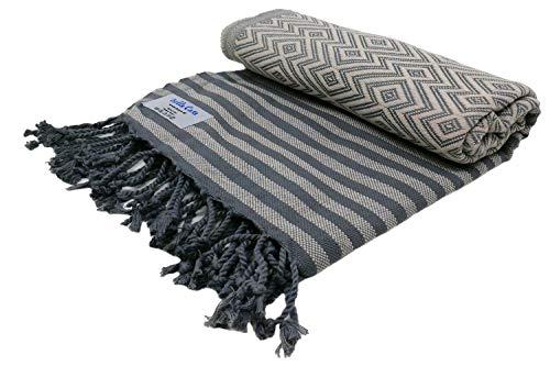 KELIM LUX Hamamtuch Saunatuch Pestemal Fouta Strandtuch Badetuch Handtuch Baumwolle Backpacker 100x180 cm (Beige)