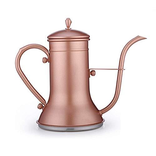 Pkfinrd Gooseneck koffiepot roestvrij staal koffiepot Gooseneck Spout, voor beginners en koffiekan fornuis gasfornuis elektrische keramische verwarmingselementen (kleur: Rose goud, maat: 1200 ml)