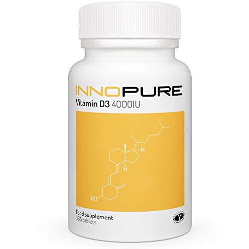 Vitamin D 4000 IU High Strength D3 Supplement - 365 Tablets, 1 Year Supply - Made in the UK by Innopure