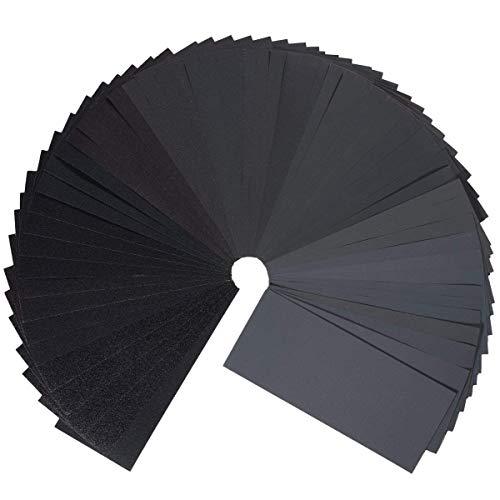 Gyvazla 45 Pcs Schleifpapier Set, 80 to 3000 Grit Schleifpapier Sortiment Trocken/Nass für Automobilschleifen Holzbearbeitung und Holzdrehen, 9 x 3,6 Zoll