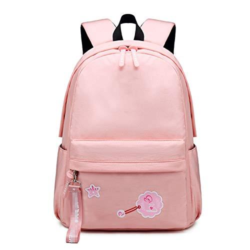 JOMSK Zaino per Ragazze Zaino della Scuola Leggera per Ragazze Donne Bambini Daypack per Scuola Media Bookbag Carino all'aperto (Color : Pink, Size : 20inch)
