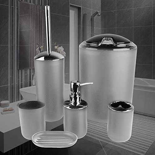 SOONHUA Juego de 6 accesorios de baño, soporte de cepillo de dientes de plástico, bote de basura, dispensador de jabón, jabonera, cepillo de inodoro con soporte