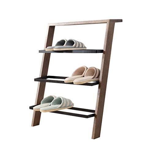Estantes para zapatos de madera maciza estilo escalera de 4 niveles Nordic Creative Floor-Standing Pasillo Dormitorio Estantes de exhibición de almacenamiento de zapatos escalonados - Color nogal - L5