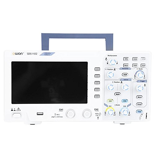 "OWON SDS1102 Digitales Oszilloskop 8 Bits,2 Kanäle,100 MHz Bandbreite, 1GS/s Abtastrate,7""Farb-LCD, horizontale Skalierung (s/div): 2 ns/div-1000 s/div,schrittweise um 1-2-5"