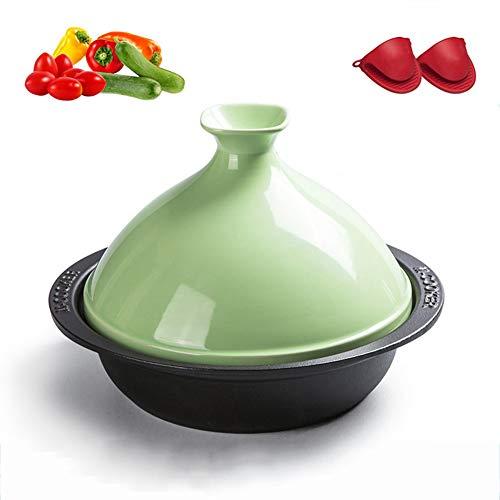 Olla de Cocina marroquí Tagine, con agarradera para guantes, para diferentes estilos de cocción y configuraciones de temperatura, tajine esmaltado, plato apto para horno Cerámica