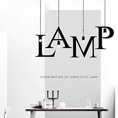 CHENJUNAMZ DIY Arte de la Barra de Hierro Forjado de una Sola Cabeza de la lámpara Retro del Restaurante 26 Carta de la lámpara árabe Digital (Color : Negro, Size : X)