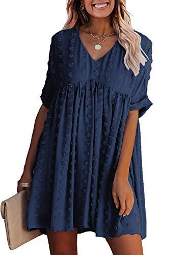 KIRUNDO 2021 Summer Women's Mini Dress Short Sleeves Sexy V Neck Flowy Dress Swiss Dot Faux Short Loose Fit Pregnant Dress (Medium, Navy)
