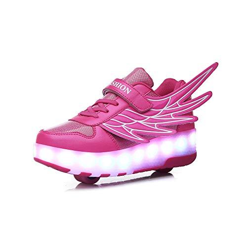 Usb Schuhe Kinder Aufladung LED Leuchten Schuhe Jungen Mädchen, Blinkschuhe Leuchtende Sport Sneaker Light Up Turnschuhe Damen Herren Kinder Shoes,Rosa,40