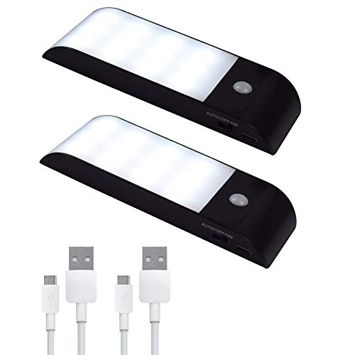Snxiwth LED automatisches Nachtlicht mit Bewegungsmelder, (2Pack) Weißes LED Licht USB Aufladbare Nachtlampe Schranklicht mit 3 Modi (Auto/ON/OFF)