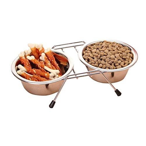 OrderSoil Eisenkunst Eisen-Rahmen-Hund und Hund Doppelschüssel Futternapf Futternapf Reisschale Reisschale Vier Jahreszeiten gelten Innen und Außen