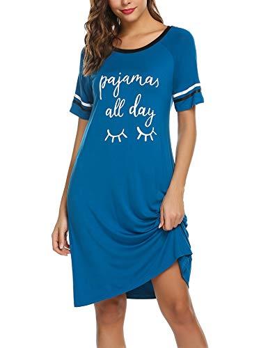 Unibelle Damen Sommer Nachthemd Kurze Ärmel Nachtkleid Lässigen College-Look Nachtwäsche mit Großer Frontprint Blau M