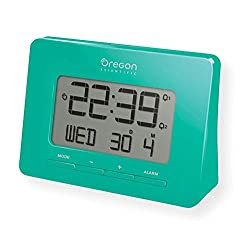 Oregon Scientific RM938_GR Model RM938 Atomic Alarm Clock, Dual Alarm, Time Calendar, and Snooze Functions, Green