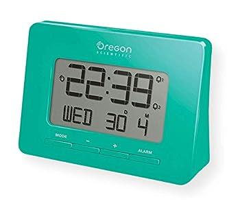 Oregon Scientific RM938_GR Model RM938 Atomic Alarm Clock Dual Alarm Time Calendar and Snooze Functions Green