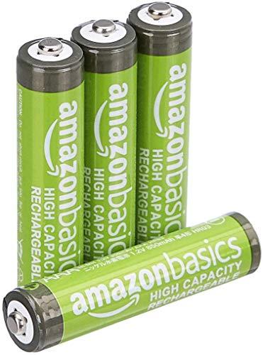 Amazon Basics - Pilas AAA recargables de alta capacidad, precargadas, paquete de 4 (el aspecto puede variar)