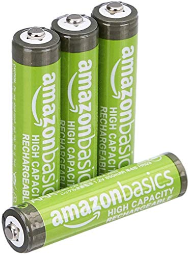 AmazonBasics AAA High-Capacity Ni-MH Rechargeable Batteries (850 mAh), Pre-charged - Pack of 4