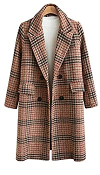 Chartou Women s Winter Oversize Lapel Collar Woolen Plaid Double Breasted Long Peacoat Jacket  Large Camel